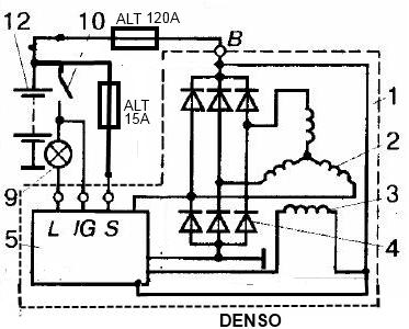 подключение генератор toyota